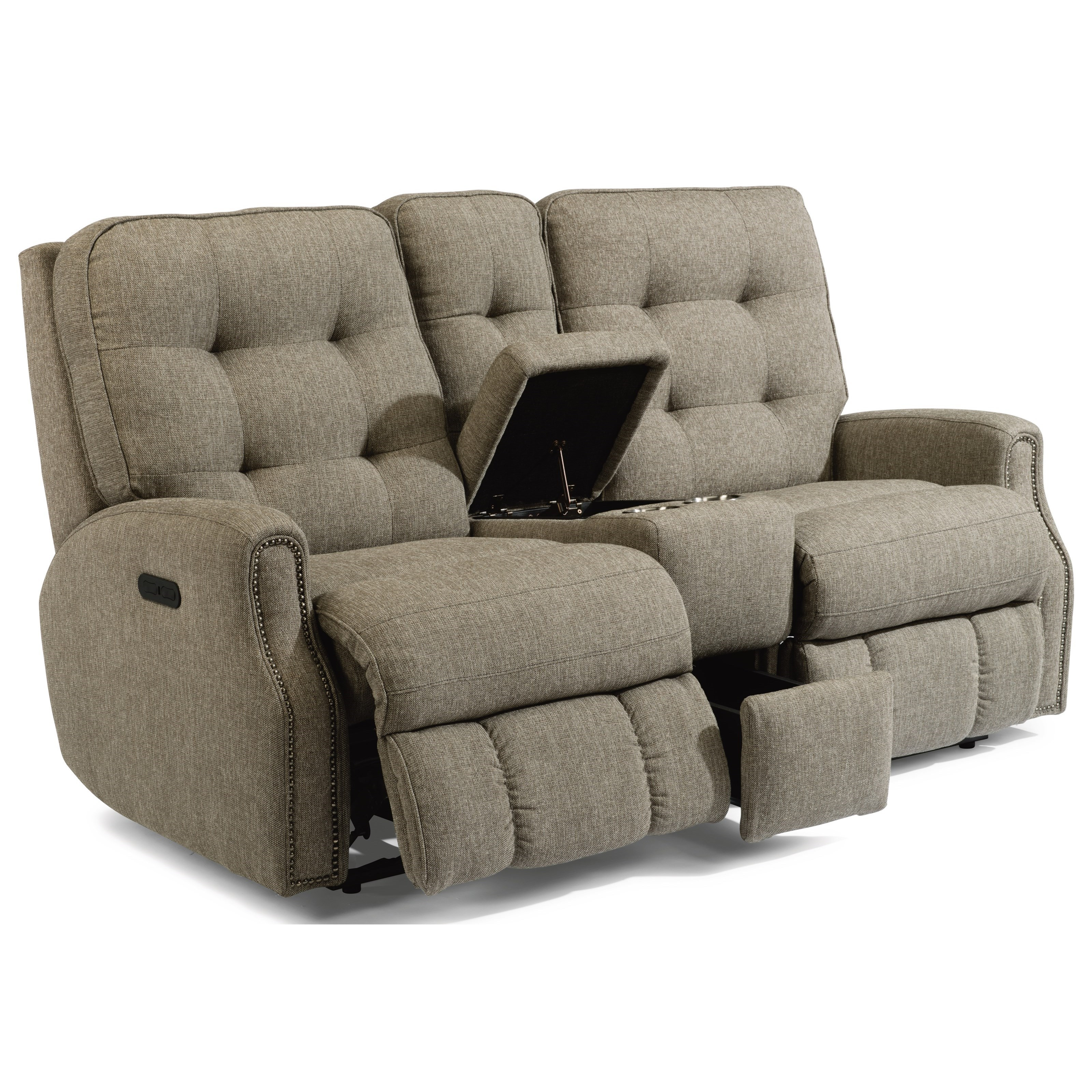 Button Tufted Power Reclining Console Loveseat with Nailhead Trim