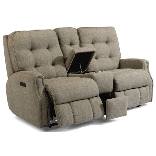 Flexsteel Devon Button Tufted Power Reclining Loveseat with Console and USB Port