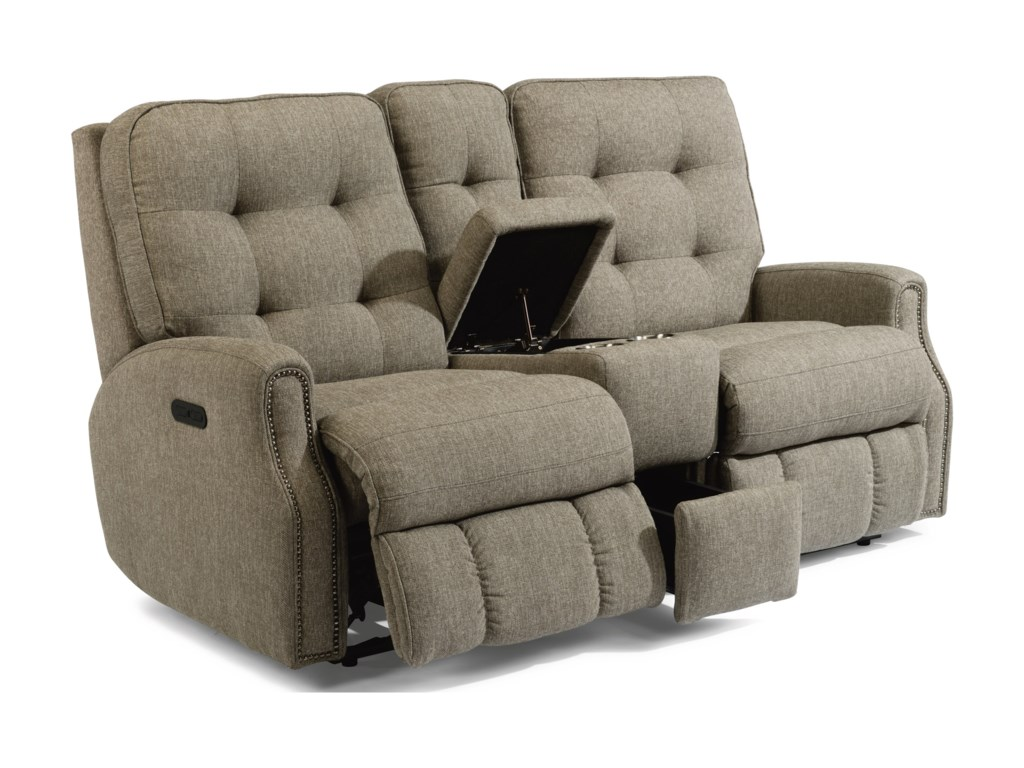 Flexsteel DevonPower Reclining Loveseat with Console