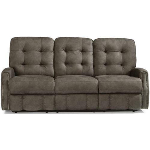 Flexsteel Devon Button Tufted Power Reclining Sofa with Power Headrests and USB Ports