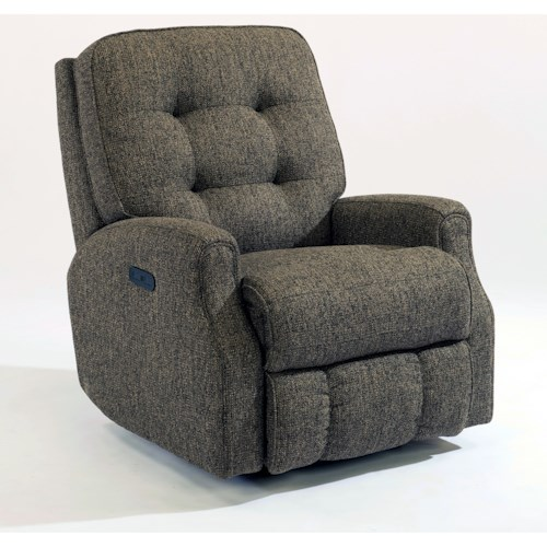 Flexsteel Devon Button Tufted Power Recliner with Power Adjustable Headrest and USB Port