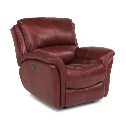 Flexsteel Dominique Casual Glider Recliner with Power Motion and Folded Pillow Arms