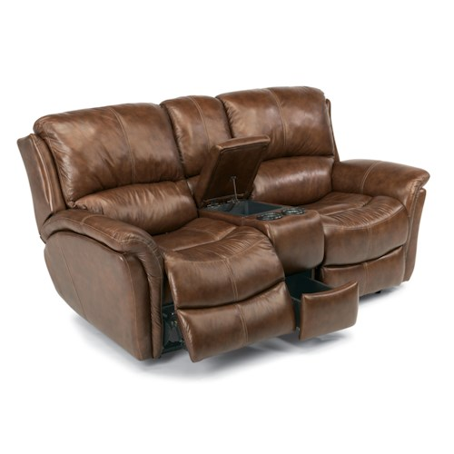 Flexsteel Latitudes - Dominique Casual Reclining Love Seat with Power Motion and Drink Storage Console