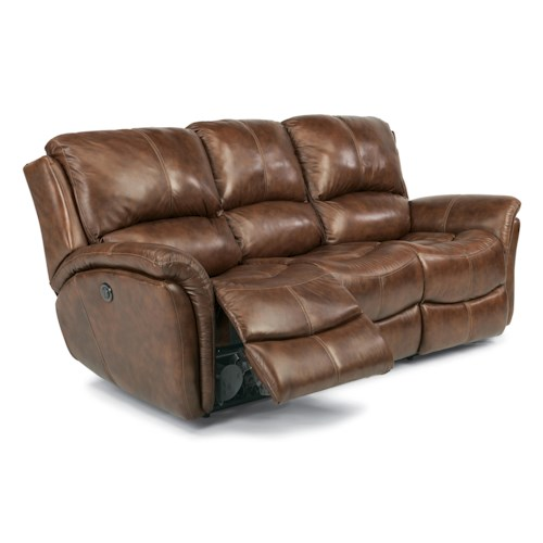 Flexsteel Latitudes - Dominique Casual Reclining Sofa with Power Motion and Folded Pillow Arms