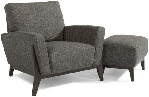 Flexsteel Latitudes-Draper Contemporary Chair and Ottoman Set with Angled Track Arms