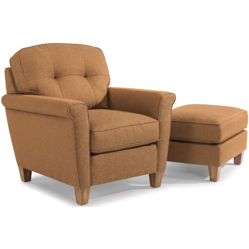 Flexsteel Elenore Mid Century Modern Chair and Ottoman with Tufting