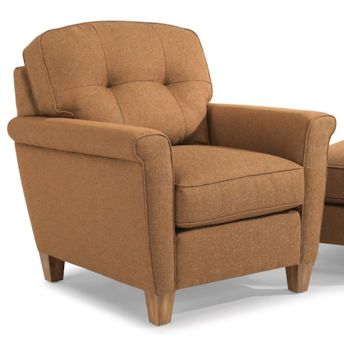 Flexsteel Elenore Mid Century Modern Chair with Tufting and Square Arms