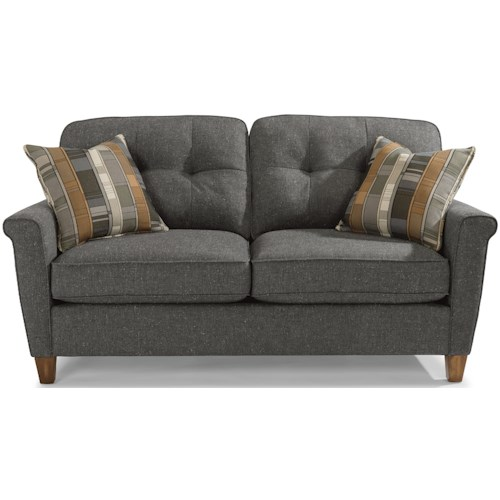 Flexsteel Elenore Mid Century Modern Loveseat with Tufting and Square Arms