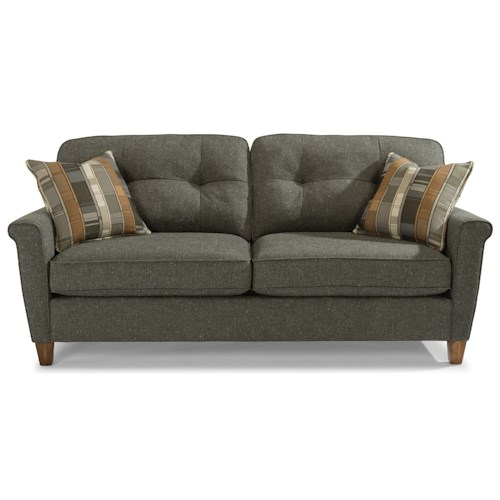 Flexsteel Elenore Mid Century Modern Sofa with Tufting and Square Arms