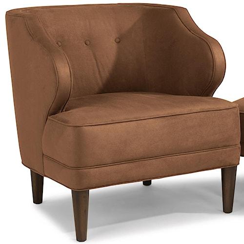 Flexsteel Etta Mid-Century Modern Wing Chair with Button Tufting