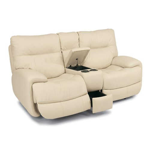 Flexsteel Latitudes - Evian Power Love Seat with Middle Console and Pull-Out Compartment