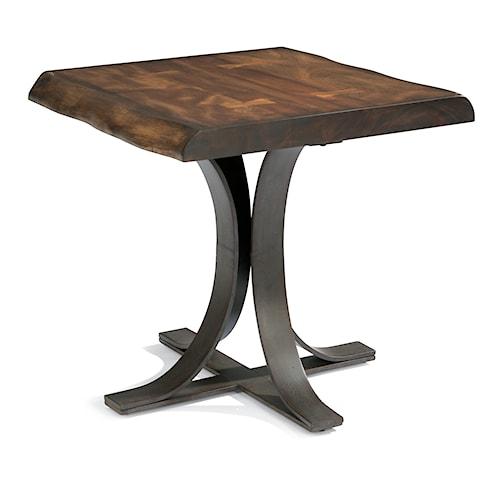 Flexsteel Farrier Rustic Log-Cut Lamp Table with Dark Iron Base