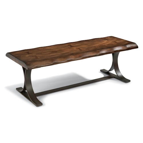 Flexsteel Farrier Rustic Log-Cut Cocktail Table with Dark Iron Base