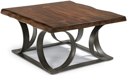 Flexsteel Farrier Rustic Log-Cut Square Cocktail Table with Dark Metal Base
