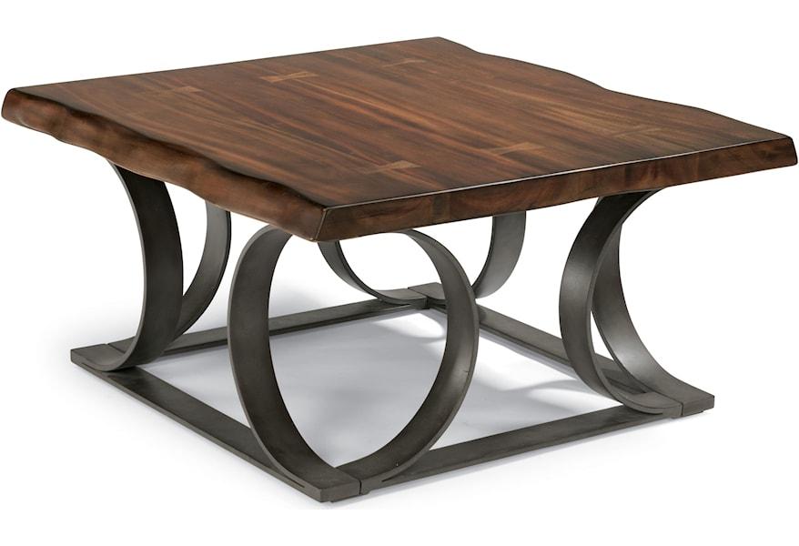 Flexsteel Farrier 6729 032 Rustic Log Cut Square Cocktail Table