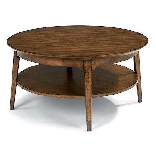 Flexsteel Gemini Mid Century Round Cocktail Table with Aged Metal Leg Caps
