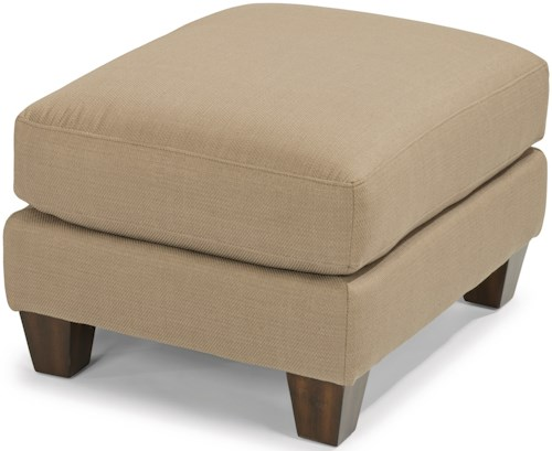 Flexsteel Gina Transitional Ottoman with Tall, Tapered Feet