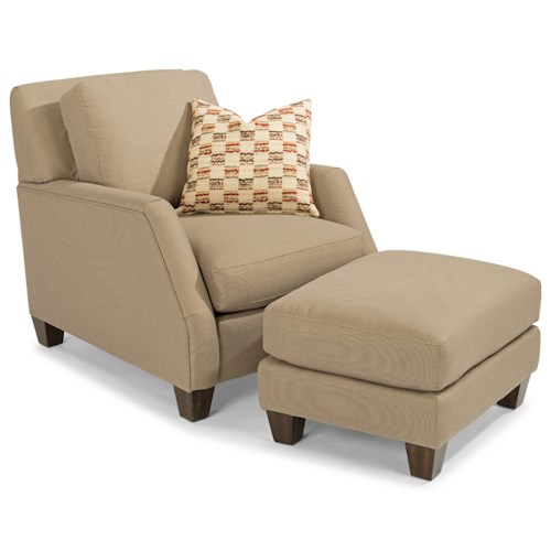 Flexsteel Gina Transitional Chair and Ottoman Set with Tall, Tapered Legs