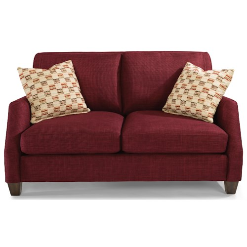 Flexsteel Gina Transitional Loveseat with Tall, Tapered Legs