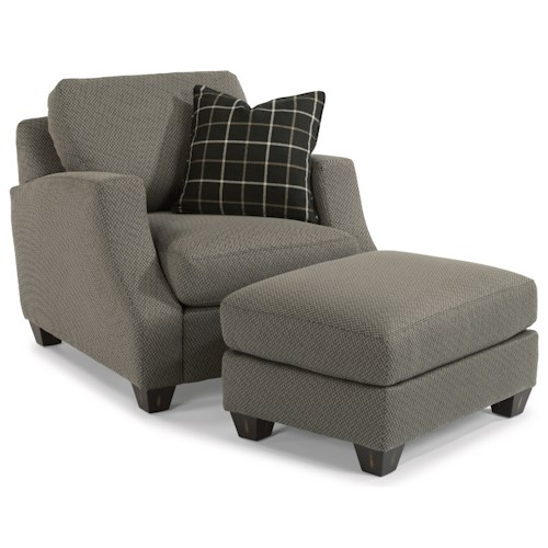 Flexsteel Grayson Contemporary Chair and Ottoman Set