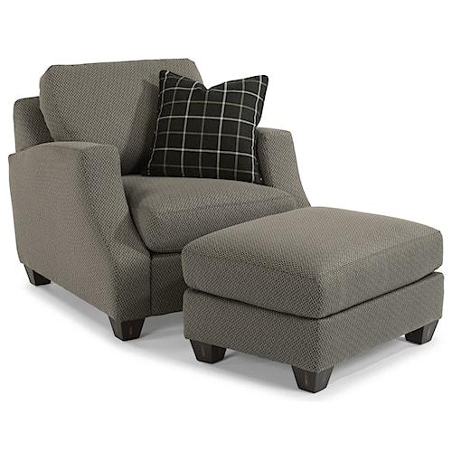 Flexsteel Grayson Contemporary Chair and Ottoman Set