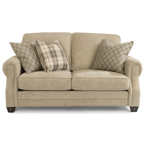 Flexsteel Gretchen Loveseat with Rolled Panel Arms
