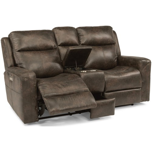 Flexsteel Latitudes - Gunner Power Reclining Console Love Seat with Power Headrest and USB Ports