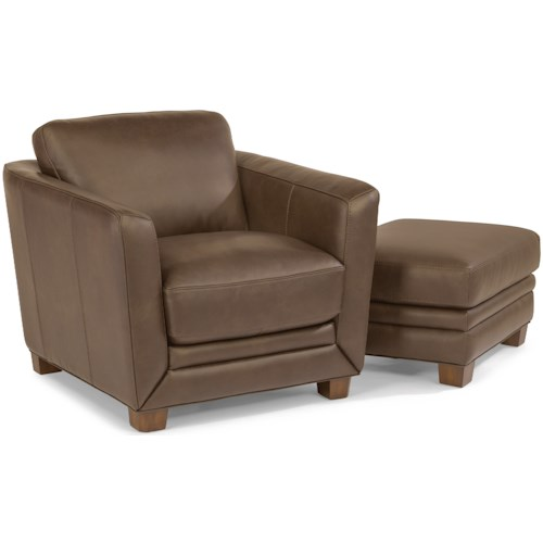 Flexsteel Latitudes-Hadley Contemporary Chair and Ottoman Set with Sloped Track Arms