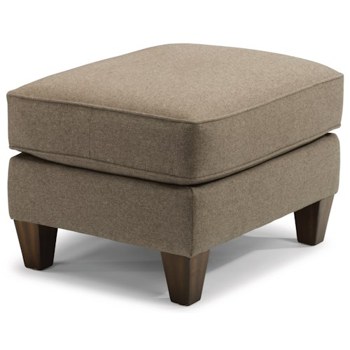 Flexsteel Haley 5724 Transitional Ottoman with Tapered Wooden Legs