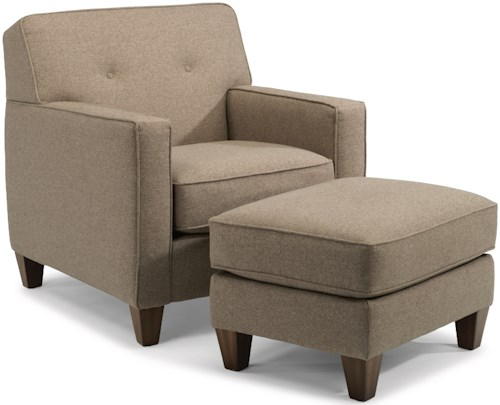 Flexsteel Haley 5724 Transitional Chair and Ottoman Set with Tapered Wooden Legs