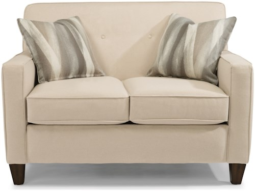 Flexsteel Haley 5724 Transitional Love Seat with Tapered Wooden Legs