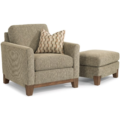 Flexsteel Hampton Transitional Chair and Ottoman Set with an Exposed Wood Base Rail