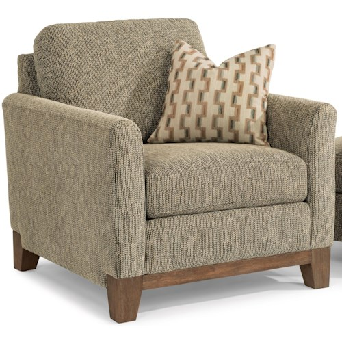Flexsteel Hampton Transitional Chair with Exposed Wood Base Rail