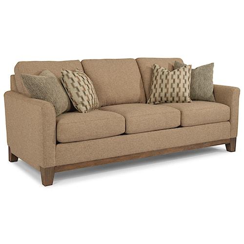 Flexsteel Hampton Transitional Sofa with Exposed Wood Base Rail