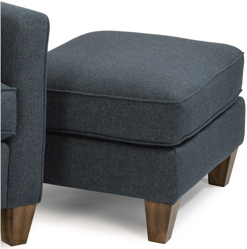Flexsteel Holly Contemporary Ottoman with Wooden Tapered Legs