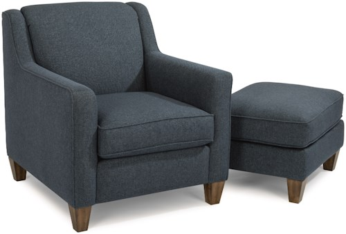 Flexsteel Holly Contemporary Chair and Ottoman with Track Arms