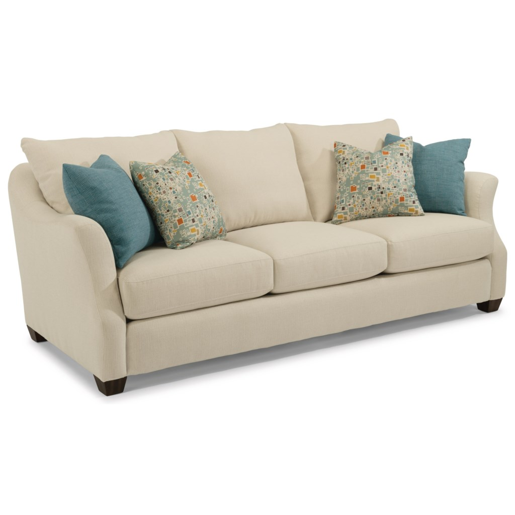 flexsteel hope transitional sofa with loose back pillows - ruby