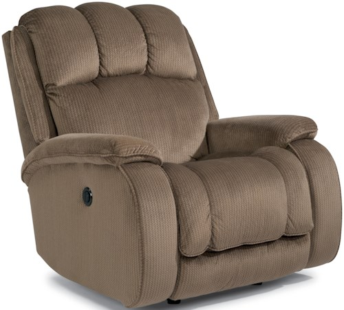 Flexsteel Huron Casual Power Rocking Recliner with Plush Padded Arms and Headrest