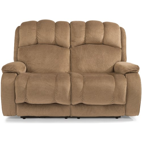 Flexsteel Huron Casual Reclining Loveseat with Plush Padded Arms and Headrest