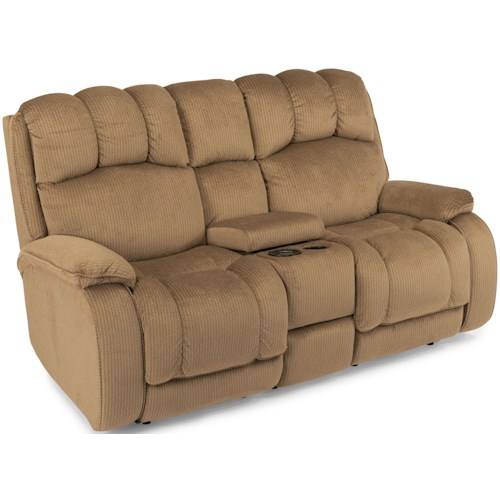 Flexsteel Huron Casual Reclining Loveseat with Plush Padded Headrest and Storage Console