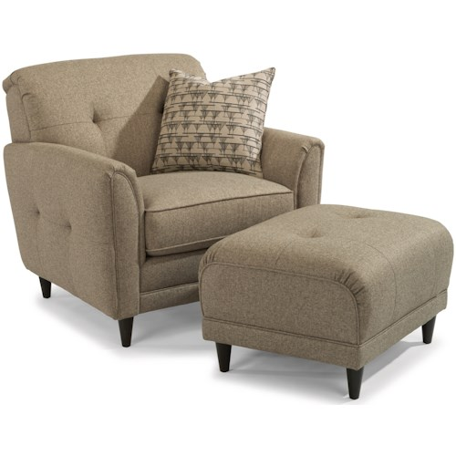 Flexsteel Jacqueline Relaxed Vintage Chair and Ottoman Set with Button Tufting