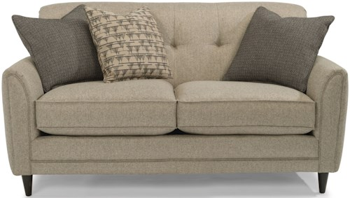 Flexsteel Jacqueline Relaxed Vintage Loveseat with Button Tufting