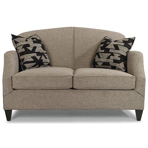 Flexsteel Jasmine Contemporary Love Seat with Tapered Legs