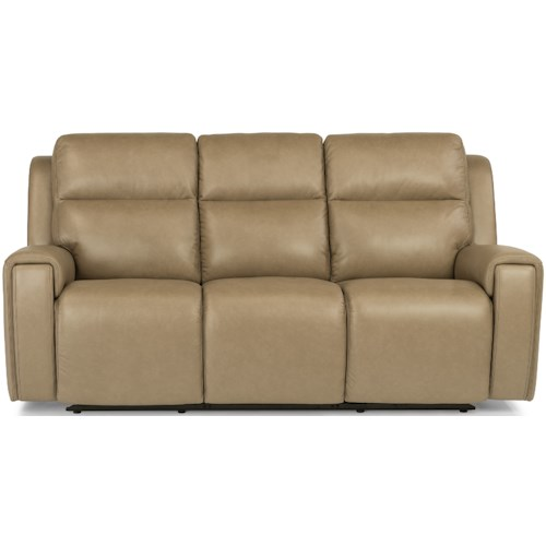 Flexsteel Latitudes - Jasper Contemporary Power Reclining Sofa with Power Headrest and USB Port