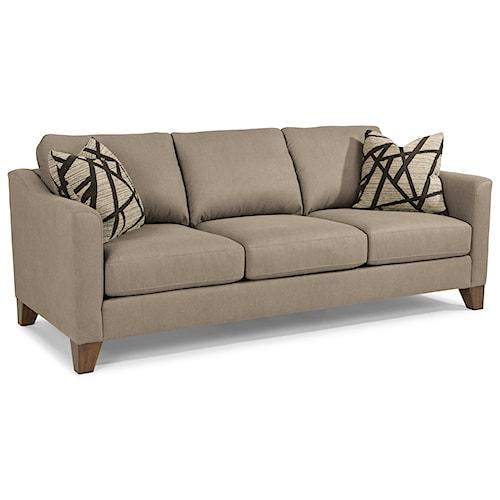 Flexsteel Jordan Transitional Sofa With Tapered Wood Legs