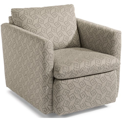 Flexsteel Kendall Contemporary Swivel Chair with Flare Tapered Arms