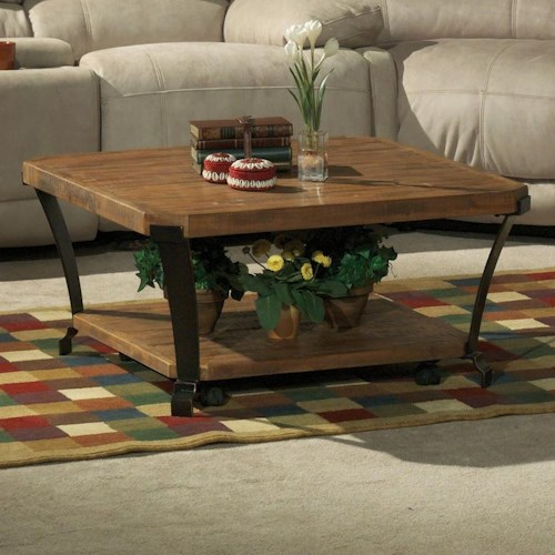 Flexsteel Kenwood Square Cocktail Table with Casters