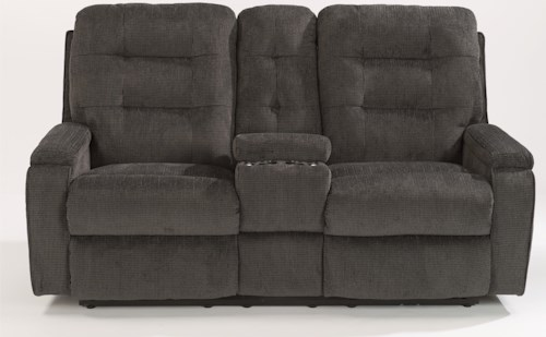 Flexsteel Kerrie Power Reclining Loveseat with Lighting Cupholder and Storage Console