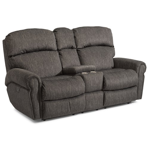 Flexsteel Langston Casual Reclining Love Seat with Storage Console and Cup Holders