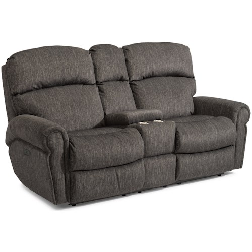 Flexsteel Langston Casual Power Reclining Love Seat with Power Headrests, Storage Console and Cup Holders
